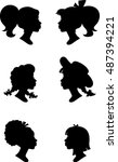little girl profile silhouettes ... | Shutterstock .eps vector #487394221