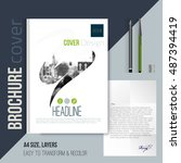 brochure cover template with...   Shutterstock .eps vector #487394419