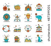 colored circus icons set in... | Shutterstock . vector #487399201
