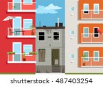 old derelict house stuck... | Shutterstock .eps vector #487403254