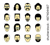 avatar icons  human face icons | Shutterstock .eps vector #487404487