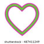 green pink plastic heart... | Shutterstock . vector #487411249