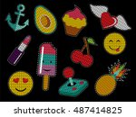 set of cute fashion patch icons ... | Shutterstock . vector #487414825