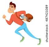 man running. man hury. man late ... | Shutterstock .eps vector #487421089