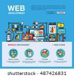 flat web design template of one ... | Shutterstock .eps vector #487426831