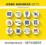 flat line icons set of network... | Shutterstock .eps vector #487428859