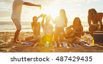 group of friends having fun... | Shutterstock . vector #487429435