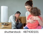 Sad Evicted Family Worried...