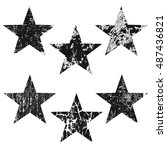 grunge stars on white... | Shutterstock .eps vector #487436821