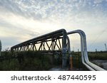 the pipe and valve oil fields | Shutterstock . vector #487440595