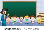 teacher and students in the... | Shutterstock .eps vector #487443241