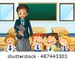 teacher and students in... | Shutterstock .eps vector #487443301