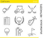 golf equipment linear icons set.... | Shutterstock .eps vector #487443391
