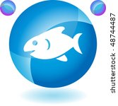 fish web button isolated on a... | Shutterstock . vector #48744487