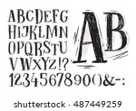 font pencil vintage hand drawn... | Shutterstock . vector #487449259