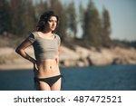 sexy bikini model woman in crop ... | Shutterstock . vector #487472521