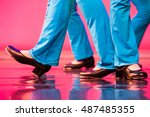 group of tap dancers feet on a... | Shutterstock . vector #487485355