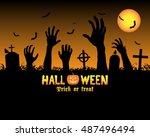 halloween zombies hand in a...   Shutterstock .eps vector #487496494
