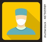 surgeon icon in flat style with ... | Shutterstock .eps vector #487505989