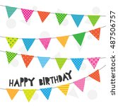 birthday card template for... | Shutterstock .eps vector #487506757
