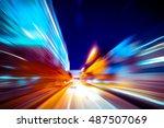 moving traffic light trails at... | Shutterstock . vector #487507069