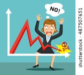 angry furious businesswoman... | Shutterstock .eps vector #487507651