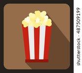 popcorn in striped bucket icon... | Shutterstock .eps vector #487509199
