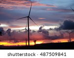 wind mill disappear in the fog... | Shutterstock . vector #487509841