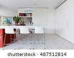 clean crisp white modern...   Shutterstock . vector #487512814
