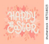 happy easter  muted pastel pink ... | Shutterstock . vector #487518025