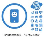 mobile phone smiley icon with...   Shutterstock .eps vector #487524259