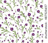 floral seamless pattern  sketch ... | Shutterstock .eps vector #487525657