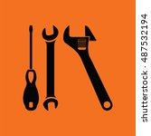wrench and screwdriver icon.... | Shutterstock .eps vector #487532194