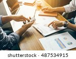 hand pointing at business... | Shutterstock . vector #487534915