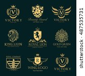 luxury hotel logo collection ... | Shutterstock .eps vector #487535731