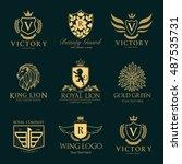 luxury hotel crest logo... | Shutterstock .eps vector #487535731