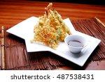 japanese cuisine. tempura. deep ... | Shutterstock . vector #487538431