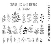 branches and herbs with leaves. ... | Shutterstock .eps vector #487544467