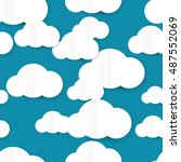 seamless pattern with clouds ... | Shutterstock .eps vector #487552069