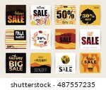 set of artistic creative autumn ... | Shutterstock .eps vector #487557235