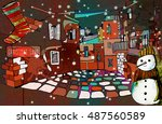 ink illustrated christmas... | Shutterstock . vector #487560589
