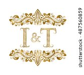 i and t vintage initials logo... | Shutterstock .eps vector #487560859