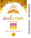 harvest festival poster.... | Shutterstock .eps vector #487566055