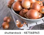 onions in  aluminum bowl on an ...