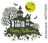 happy halloween vintage... | Shutterstock .eps vector #487573354