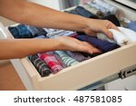 the drawer with underwear in... | Shutterstock . vector #487581085
