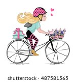 girl illustration vector... | Shutterstock .eps vector #487581565