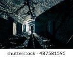 underground tunnel in abandined ... | Shutterstock . vector #487581595