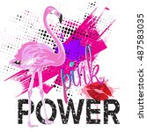 pink power. typography graphic... | Shutterstock .eps vector #487583035