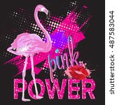 pink power. typography graphic... | Shutterstock .eps vector #487583044